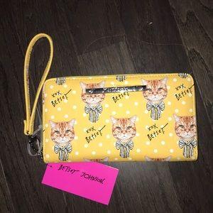 Betsey Johnson white polka dot cat bow wallet